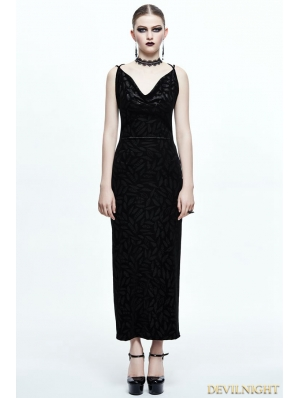 Black Gothic Sexy Back Long Dress