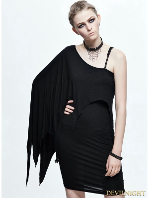 Black Gothic Elegant One-Shoulder Dress