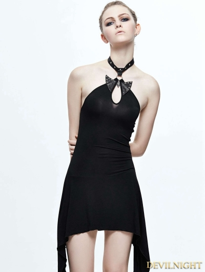 Black Halter Gothic Butterfly Dress