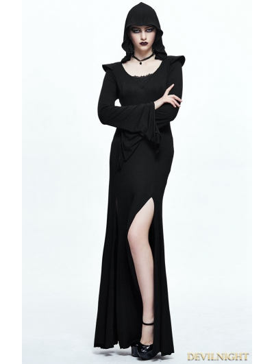 Black Gothic Sexy Hooded Long Dress