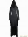 Black Gothic Witch Hooded High-Low Dress