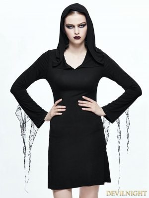Black Gothic Witch Spider Web Short Dress