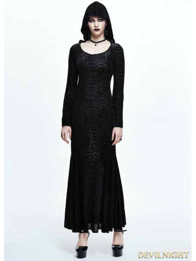 Black Pattern Gothic Witch Long Hooded Dress