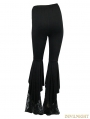 Black Gothic Lace Bell-Bottomed Pants for Women