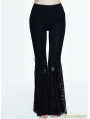 Black Gothic Cross Lace Bell-Bottomed Pants for Women