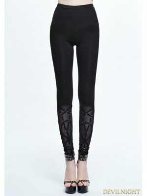 Black Gothic Lace-up Legging for Women