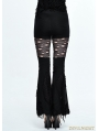 Black Gothic Punk Hole Bell-Bottomed Pants for Women
