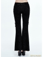 Black Gothic Feather Pattern Bell-Bottomed Pants for Women
