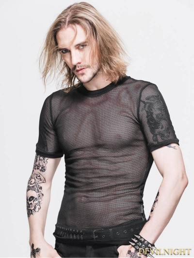 Black Gothic Net Mens Short Sleeves T-Shirt