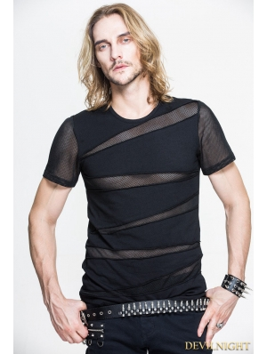 Black Gothic Net Short Sleeves T-Shirt for Men
