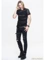Black Gothic Net Short Sleeves T-Shirt for Men