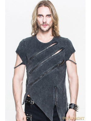 Black Gothic Zipper Short Sleeves T-Shirt for Men