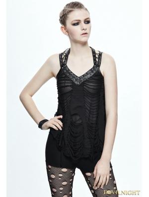 Black Gothic Punk Hole Sleeveless Shirt for Women