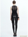 Black Gothic Sleeveless Net Top for Women