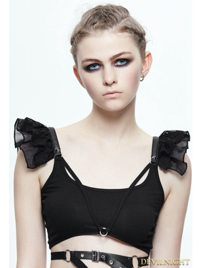 Black Gothic Short Top for Women