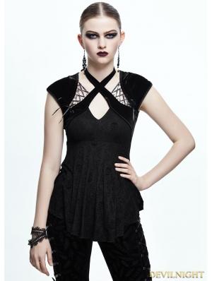 Black Gothic Skull Cap Sleeves Shirt for Women