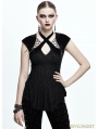 Black Gothic Skull Cap Sleeves Shirt for Women