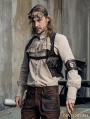 Brown PU Gear Steampunk Vest for Men