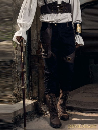 Black Industrial Steampunk Trousers for Men