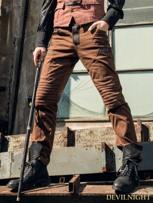 Brown Steampunk Pants Socks for Men