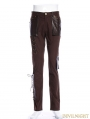 Coffee Steampunk Lace-up Trousers for Men