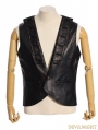 Black PU Industrial Steampunk Vest for Men