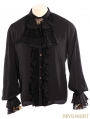 Black Steampunk Man Blouse with Detachable Bowtie