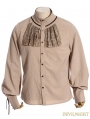 Beige Steampunk Ruffles Blouse for Man