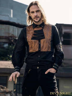 Black Industrial Steampunk Man Blouse with Detachable Bowtie