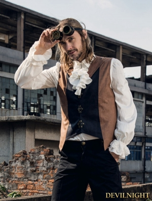 White Steampunk Ruffles Shirt for Man