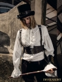 White Steampunk Man Blouse with Detachable Bowtie