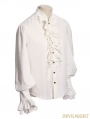 White Steampunk Ruffles Lace Blouse for Man