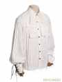 White Steampunk Ruffles Lace-up Blouse for Men