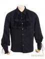 Black Steampunk Ruffles Lace-up Blouse for Men