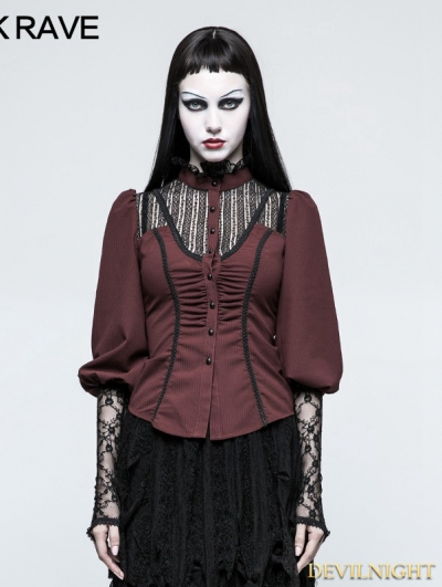 Red Steampunk Long Sleeve Shirt for Women