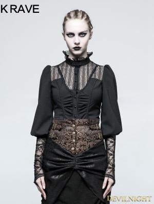 Black Steampunk Long Sleeve Shirt for Women