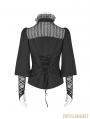 Black Steampunk Long Sleeve Shirt for Women