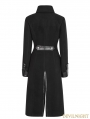 Black Gothic Punk Worsted Long Coat for Women
