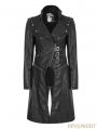 Black Gothic Handsome Punk Long PU Coat for Women