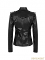 Black Gothic Military Uniform Sexy PU Leather Shirt for Women