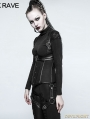 Black Gothic Military Uniform Short Coat for Women