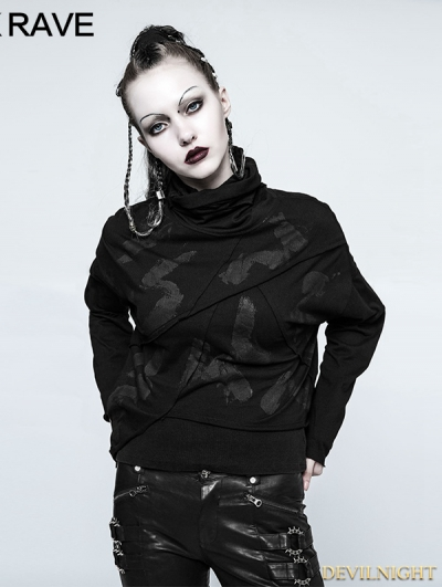 Black Gothic Punk Hand Painted Asymmetry T-shirt for Women