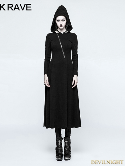 Black Gothic Handsome Hooded Dress