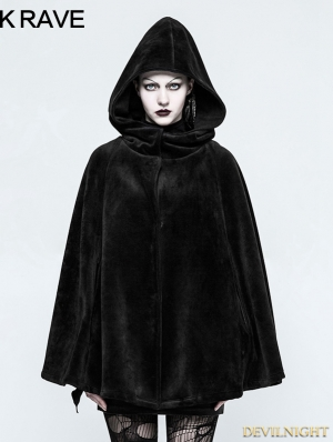 Black Gothic Witch Heavy Cloak for Women