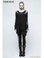 Black Gothic Punk Pullover Sweater for Women