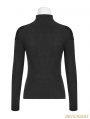 Black Gothic Embroidered Stand Collar Primer Shirt for Women