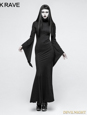 Black Gothic Dark Dress with Mask