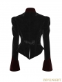 Black and Red Gothic Scissor-tail Dress Jacket for Women