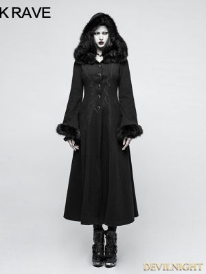 Black Gothic Disc Flowers Long Winter Fur Coat for Women