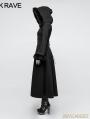 Black Gothic Disc Flowers Long Winter Fur Coat for Women